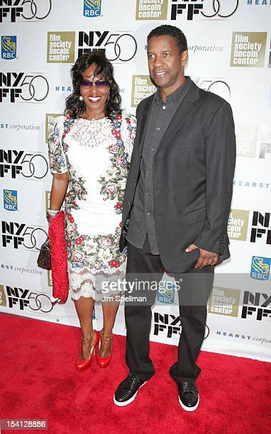 Actor Denzel Washington and wife Pauletta Washington attend the closing night gala screening of Flight during the 50th New York Film Festival at...