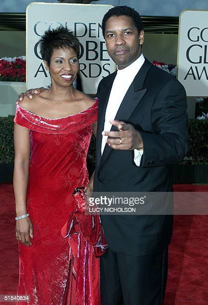 US actor Denzel Washington arrives with his wife Pauletta at the 57th Annual Golden Globe Awards in Beverly Hills 23 January 2000 Washington won Best...