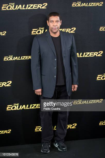Actor Denzel Washington attends 'The Equalizer 2' photocall at the Villamagna Hotel on August 7 2018 in Madrid Spain