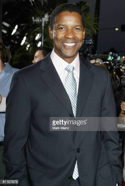 "Actor Denzel Washington attends the premiere of ""The Manchurian Candidate"" on July 22, 2004 at the Samuel Goldwyn Theatre, in Los Angeles, California."