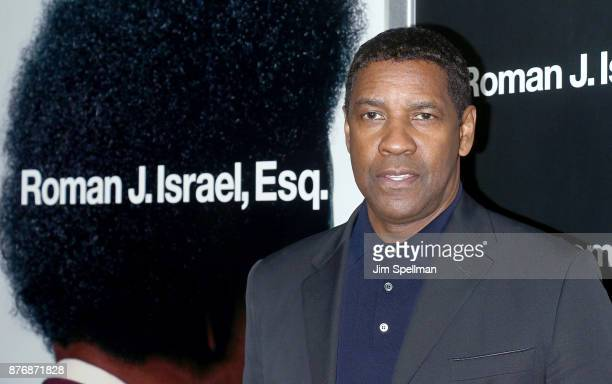 Actor Denzel Washington attends theRoman J Israel Esquire New York premiere at Henry R Luce Auditorium at Brookfield Place on November 20 2017 in New...