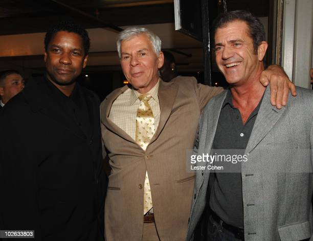 Actor Denzel Washington Ed Limato and actor Mel Gibson arrives to the industry screening of American Gangster at the Arclight on October 29 2007 in...