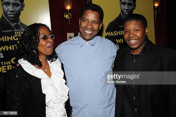 Actor Denzel Washington his wife Pauletta Parson and actor Denzel Whitaker arrive at the premiere of The Great Debaters at the Ziegfeld theater on...