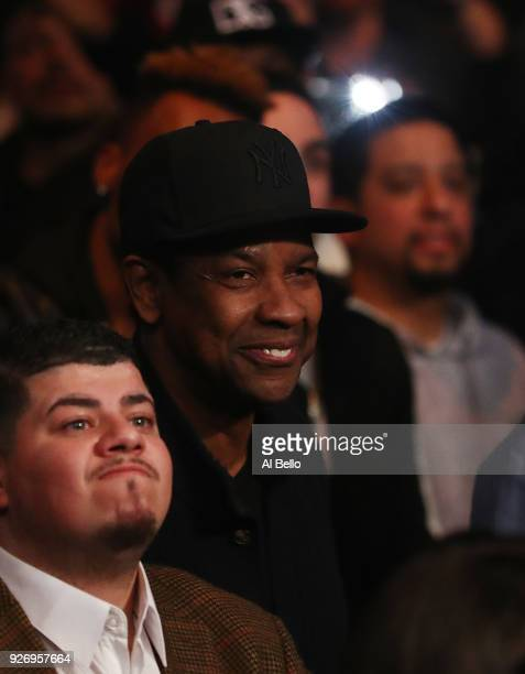 Actor Denzel Washington looks on during the fight between Deontay Wilder and Luis Ortiz during their WBC Heavyweight Championship fight at Barclays...