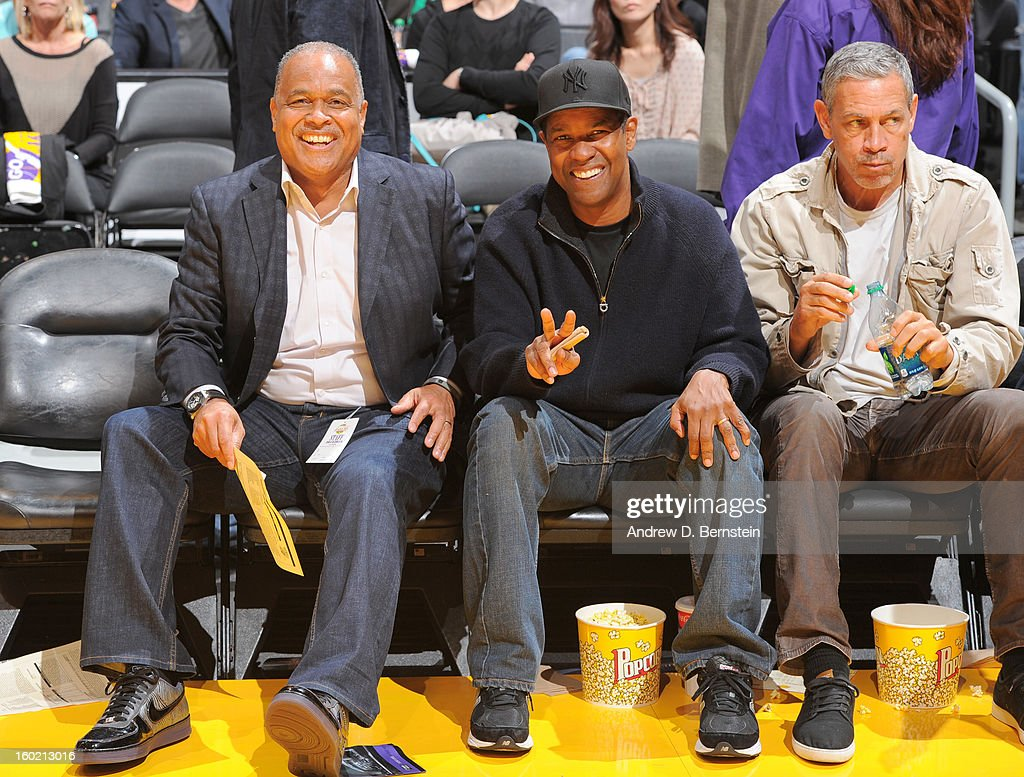 Actor Denzel Washington poses for a photo during the game between the Los Angeles Lakers and the Oklahoma City Thunder at Staples Center on January 27, 2013 in Los Angeles, California.
