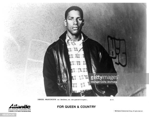 "Actor Denzel Washington poses for the movie ""For Queen & Country "", circa 1988."
