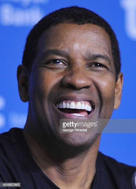 "Actor Denzel Washington speaks onstage at ""The Equalizer"" Press Conference during the 2014 Toronto International Film Festival at TIFF Bell Lightbox..."