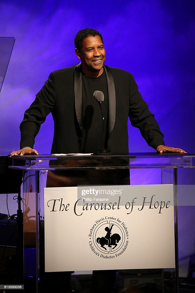 Actor Denzel Washington speaks onstage during the 2016 Carousel of Hope Ball at The Beverly Hilton Hotel on October 8, 2016 in Beverly Hills, California.