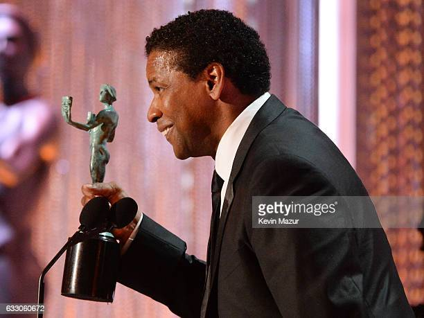 Actor Denzel Washington speaks onstage during The 23rd Annual Screen Actors Guild Awards at The Shrine Auditorium on January 29 2017 in Los Angeles...