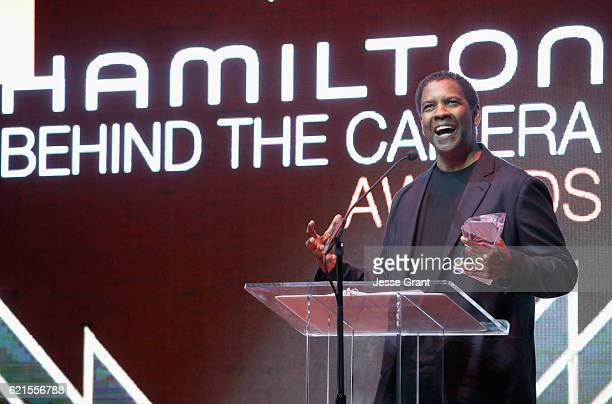 Actor Denzel Washington speaks onstage during the Hamilton Behind The Camera Awards presented by Los Angeles Confidential Magazine at Exchange LA on...