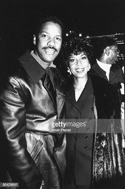 Actor Denzel Washington w his wife Pauletta arriving for the screening of the movie Malcolm X