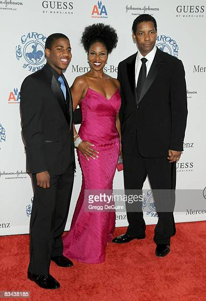 Actor Denzel Washington Wife Pauletta Washington and Son Malcolm arrive at The 30th Anniversary Carousel Of Hope Ball at The Beverly Hilton Hotel on...