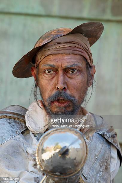 Actor depicting Don Quijote de la Mancha performs for photographers during the Cervante's Week on October 7 2016 in Alcala de Henares Spain The World...