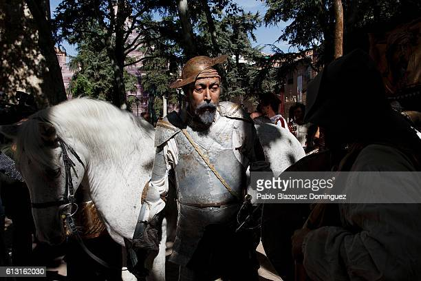 Actor depicting Don Quijote de la Mancha performs in the street during the Cervante's Week on October 7 2016 in Alcala de Henares Spain The World...