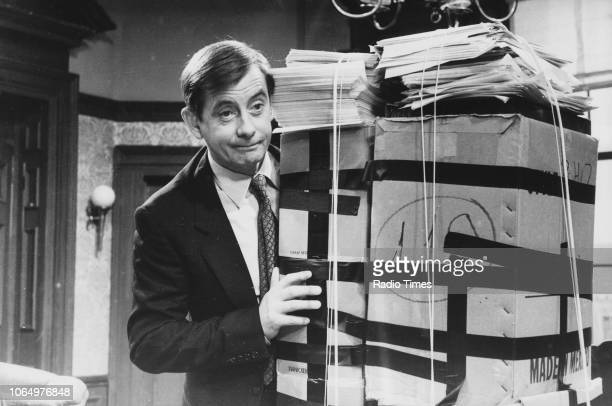 Actor Derek Fowlds in a scene from episode 'Death List' of the television sitcom 'Yes Minister' February 1st 1981