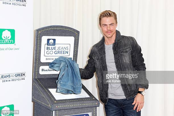 Actor Derek Hough attends Blue Jeans go green celebrates 1 Million pieces of denim collected for recycling hosted by Miles Teller at SkyBar at the...