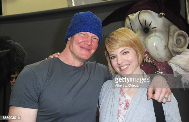 Actor Derek Mears and Jenny Brezinski attend day 2 of the 2017 Monsterpalooza held at Pasadena Convention Center on April 9 2017 in Pasadena...