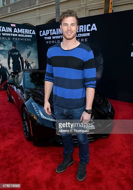 Actor Derek Theler attends Marvel's Captain America The Winter Soldier premiere at the El Capitan Theatre on March 13 2014 in Hollywood California