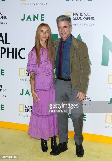 Actor Dermot Mulroney and his Wife Tharita Cesaroni attend the premiere of National Geographic documentary films' 'Jane' at the Hollywood Bowl on...