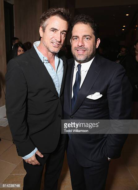 Actor Dermot Mulroney and honoree Brett Ratner attend the Venice Family Clinic Silver Circle Gala 2016 honoring Brett Ratner and Bill Flumenbaum at...