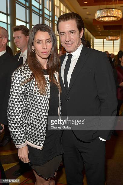 Actor Dermot Mulroney and Tharita Cesaroni attend the 2014 Writers Guild Awards LA Ceremony at JW Marriott at LA Live on February 1 2014 in Los...
