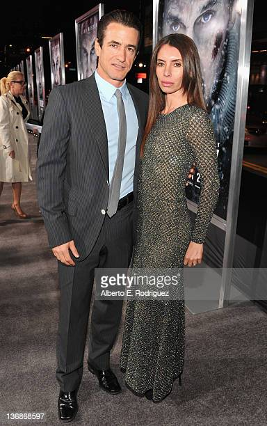 Actor Dermot Mulroney and wife Tharita Catulle arrive to the premiere of Open Road Films' The Grey on January 11 2012 in Los Angeles California