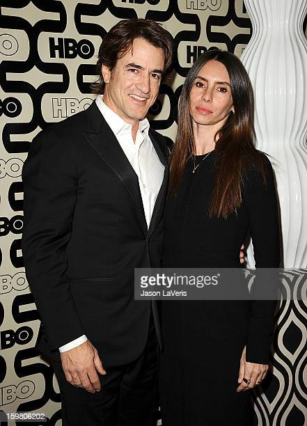 Actor Dermot Mulroney and wife Tharita Catulle attend the HBO after party at the 70th annual Golden Globe Awards at Circa 55 restaurant at the...