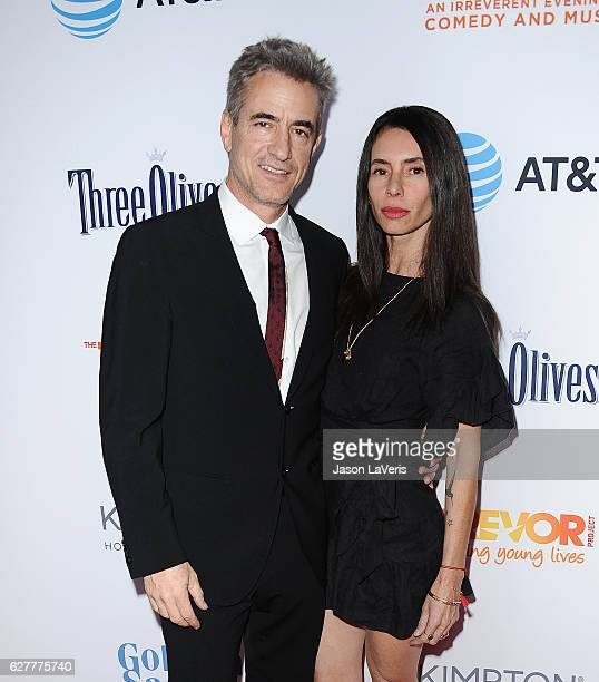 Actor Dermot Mulroney and wife Tharita Cesaroni attend the TrevorLIVE Los Angeles 2016 fundraiser at The Beverly Hilton Hotel on December 4 2016 in...