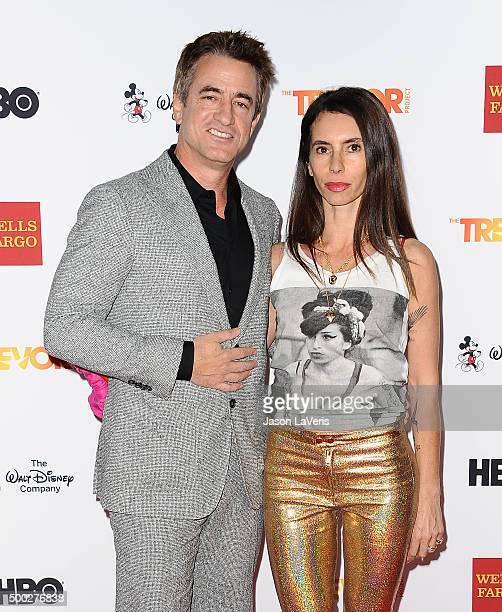 Actor Dermot Mulroney and wife Tharita Cesaroni attend TrevorLIVE LA 2015 at Hollywood Palladium on December 6 2015 in Los Angeles California