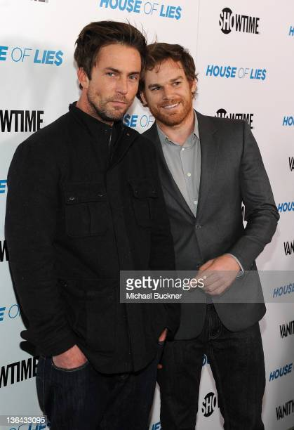 Actor Desmond Harrington and actor Michael C Hall arrive at the premiere screening of Showtime's Hou$e of Lie$ at the ATT Center on January 4 2012 in...