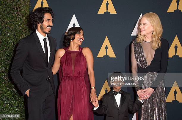 Actor Dev Patel actress Tannishtha Chatterjee young actor Sunny Pawar and actress Nicole Kidman attend the 8th Annual Governors Awards hosted by the...