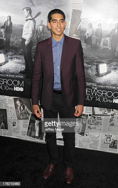 Actor Dev Patel arrives at the Los Angeles Season 2 Premiere Of HBO's Series 'The Newsroom' at Paramount Studios on July 10 2013 in Hollywood...