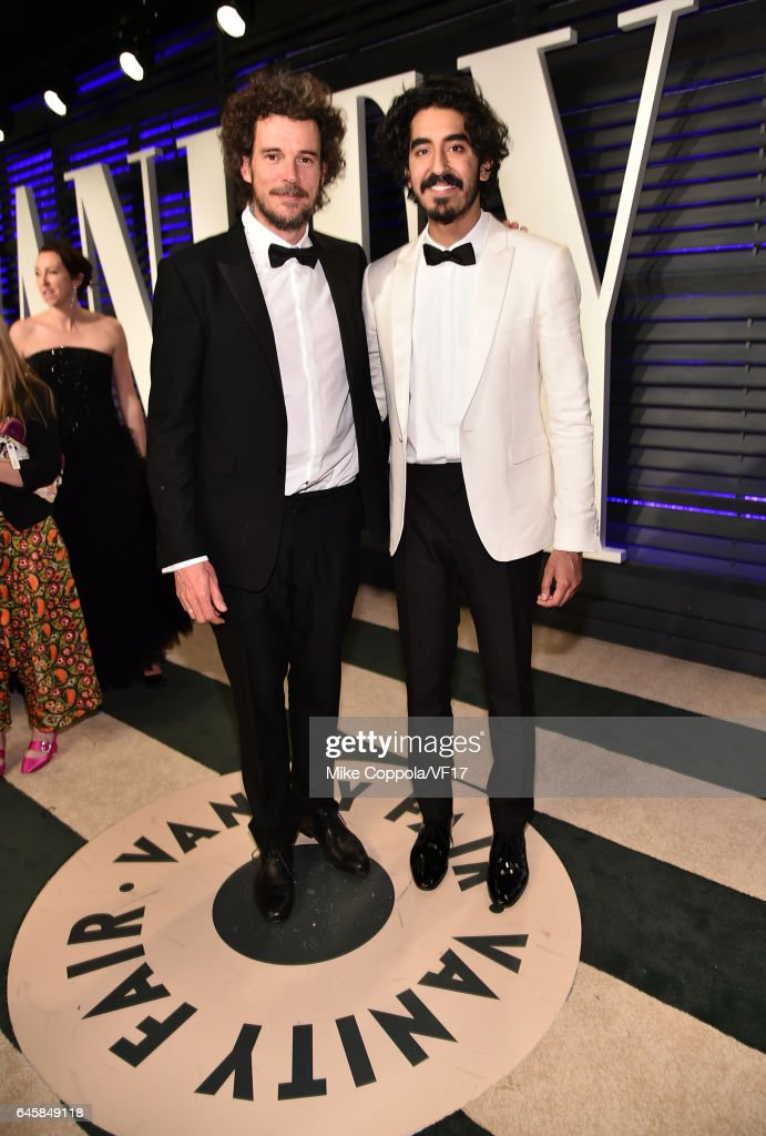 Actor Dev Patel (R) attends the 2017 Vanity Fair Oscar Party hosted by Graydon Carter at Wallis Annenberg Center for the Performing Arts on February 26, 2017 in Beverly Hills, California.
