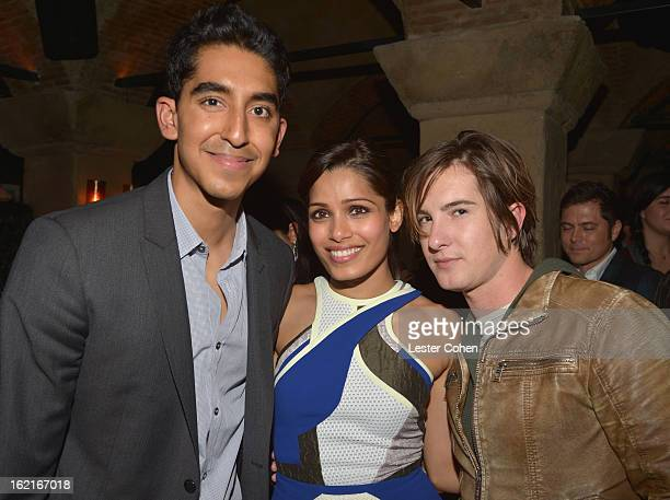 Actor Dev Patel host Freida Pinto and actor Andrew James Allen attend Vanity Fair and L'Oréal Parishosted DJ Night with Freida Pinto in support of 10...