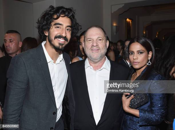 Actor Dev Patel producer Harvey Weinstein and actress Priyanka Bose attend The Weinstein Company's PreOscar Dinner in partnership with Bvlgari and...