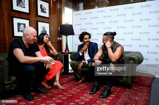 Actor Dev Patel speakt to Virgin Radio presenters Big Rossi Priti Malik and Chris Fade at Four Seasons DIFC on May 2 2017 in Dubai United Arab...