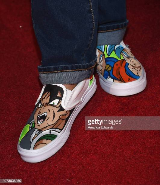 Actor Devin Trey Campbell shoe detail arrives at Funimation Films' Premiere of Dragon Ball Super Broly at the TCL Chinese Theatre on December 13 2018...