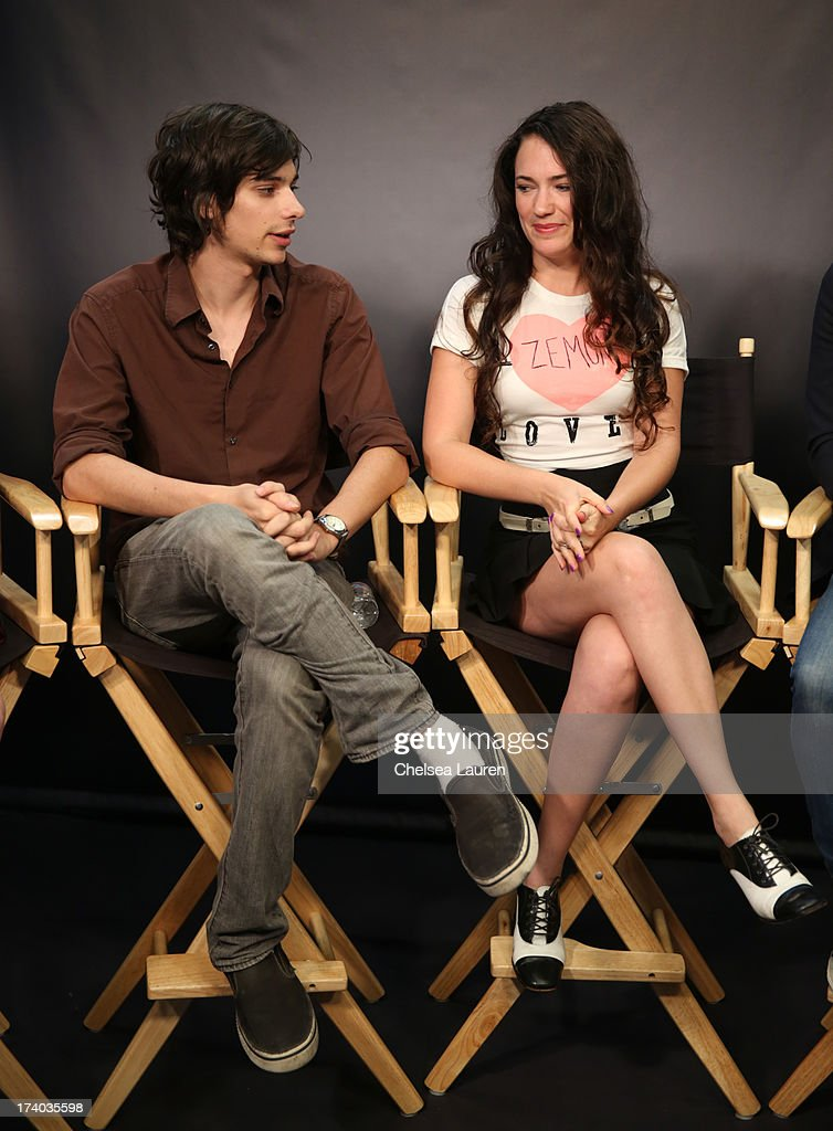 Actor Devon Bostick (L) and actor/director April Mullen attend the 'Dead Before Dawn 3D' at the Movies On Demand Lounge during Comic-Con International 2013 at Hard Rock Hotel San Diego on July 19, 2013 in San Diego, California.
