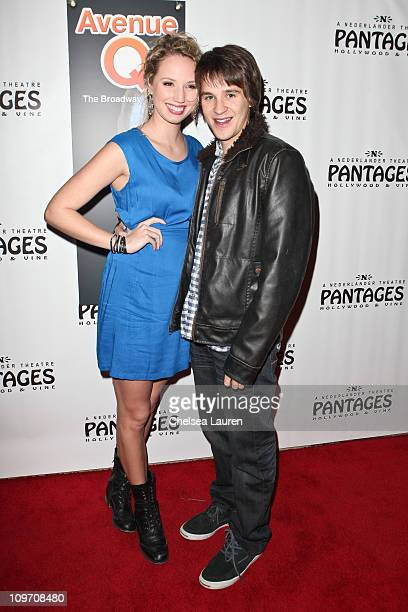 Actor Devon Werkheiser and girlfriend Molly McCook arrive at the opening night of Avenue Q at the Pantages Theatre on March 1 2011 in Hollywood...
