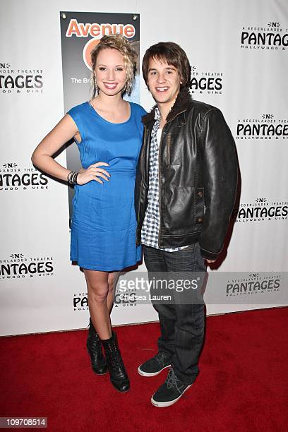 actor devon werkheiser and girlfriend molly mccook arrive at the opening night of avenue q