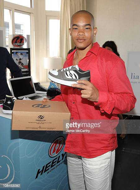 Actor Dewayne Turrentine poses with Heelys at the Lia Sophia Upfront Suite at The London Hotel on May 19 2009 in New York City