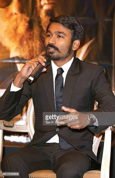 Actor Dhanush attends a press conference for 'Shamitabh' at St James Court Hotel on January 27 2015 in London England