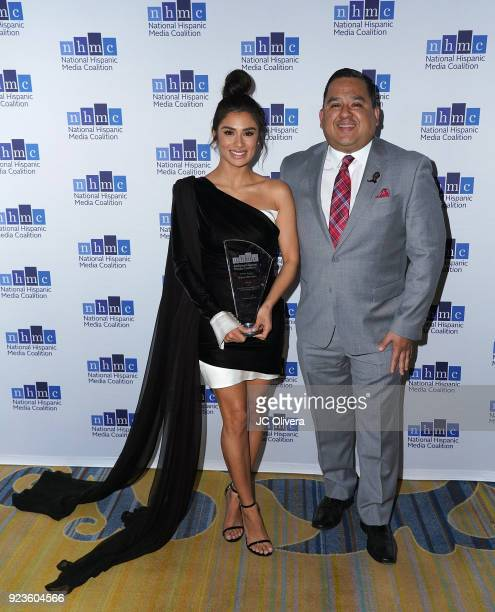 Actor Diane Guerrero recipient of the 'Lupe Ontiveros Indomitable Spirit Award' and Elias Ontiveros pose during the 20th Annual National Hispanic...