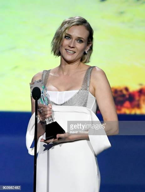 Actor Diane Kruger accepts Best Foreign Language Film for 'In the Fade' onstage during The 23rd Annual Critics' Choice Awards at Barker Hangar on...