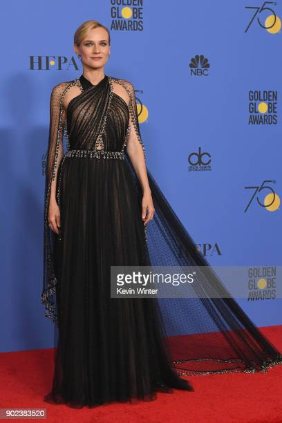 Actor Diane Kruger poses in the press room during The 75th Annual Golden Globe Awards at The Beverly Hilton Hotel on January 7 2018 in Beverly Hills...
