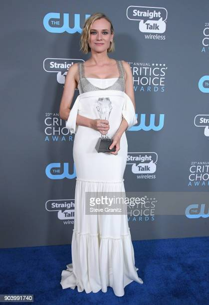 Actor Diane Kruger poses with award for Best Foreign Language Film for 'In the Fade' in the press room during The 23rd Annual Critics' Choice Awards...