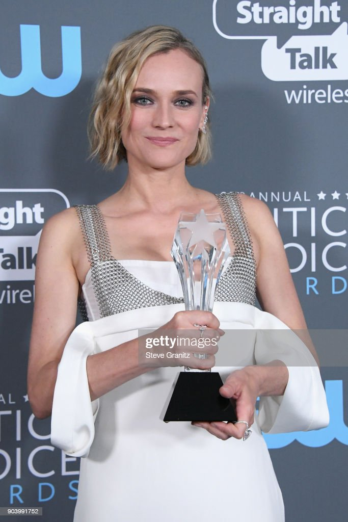 Actor Diane Kruger poses with award for Best Foreign Language Film for 'In the Fade' in the press room during The 23rd Annual Critics' Choice Awards at Barker Hangar on January 11, 2018 in Santa Monica, California.