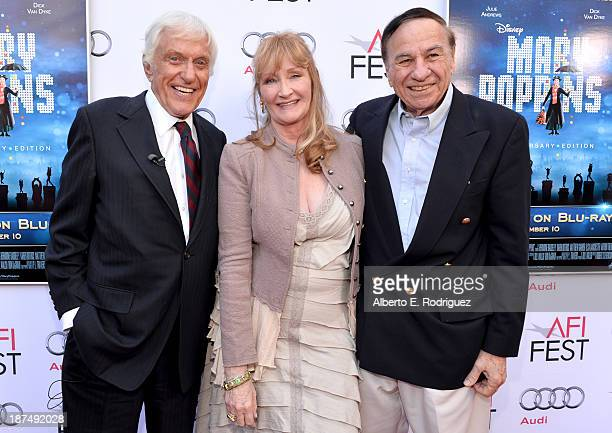 Actor Dick Van Dyke actress Karen Dotrice and composer Richard M Sherman attend the 50th anniversary commemoration screening of Disney's 'Mary...
