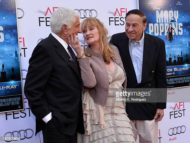 Actor Dick Van Dyke actress Karen Dotrice and composer Richard M Sherman attend the 50th anniversary commemoration screening of Disney's Mary Poppins...