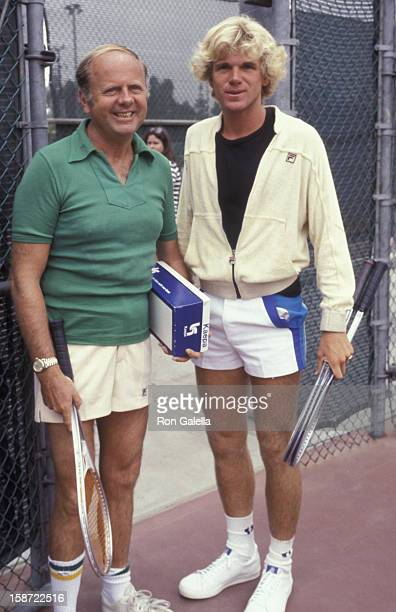 Actor Dick Van Patten and Nels Van Patten attend Third Annual Cathy's ProCelebrity Tennis Classic on June 25 1977 at the Billie Jean King Tennis...